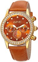 August Steiner Women's Quartz Stainless Steel and Leather Casual Watch, Color:Brown (Model: AS8236TN)