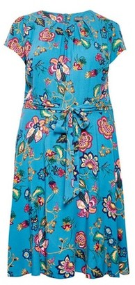 Dorothy Perkins Womens **Billie & Blossom Curve Teal Floral Print Fit And Flare Midi Dress