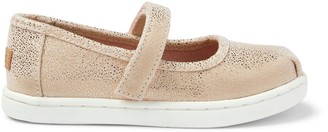 Toms Rose Gold Iridescent Droplets Tiny Mary Jane Flats