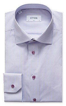 Eton Plaid Slim Fit Dress Shirt