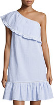 Neiman Marcus Seersucker Asymmetric-Neck Dress, Blue/White