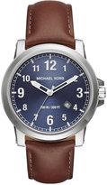 Michael Kors Men's Paxton Dark Brown Leather Strap Watch 43mm MK8501