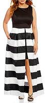 Sangria Plus Sleeveless Striped Ballgown