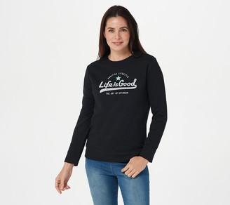 Life is Good Women's Logo French Terry Crew Sweatshirt