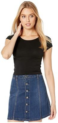 Free People Cap Sleeve Crop (Black) Women's Clothing