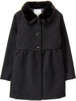 Gymboree Black Faux Fur-Trim Swing Coat - Toddler & Girls