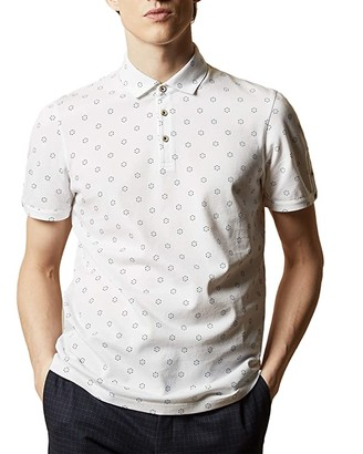 Ted Baker Mixing Short Sleeve Textured Polo with Geo Print (White) Men's Clothing