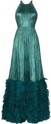 Maria Lucia Hohan Plisse Ruffle-Hem Maxi Dress