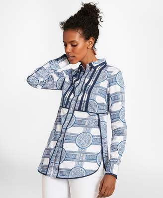 Brooks Brothers Porcelain-Print Cotton Sateen Tunic