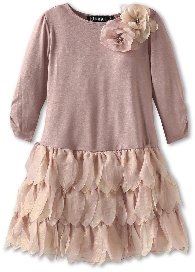 Biscotti Shimmering Rose L/S Drop Waist Dress (Little Kids) (Gold) Girl's Dress