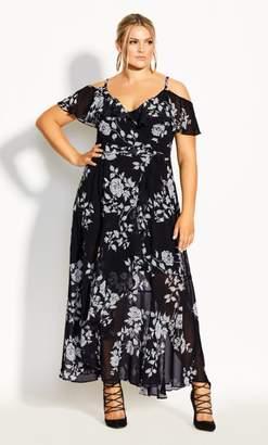 City Chic Night Garden Maxi Dress - black
