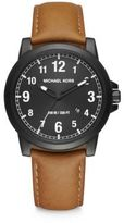 Michael Kors Paxton Black Stainless Steel & Leather Strap Watch