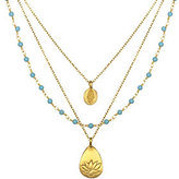 Satya Turquoise, Hamsa, & Lotus 3-Strand N ecklace