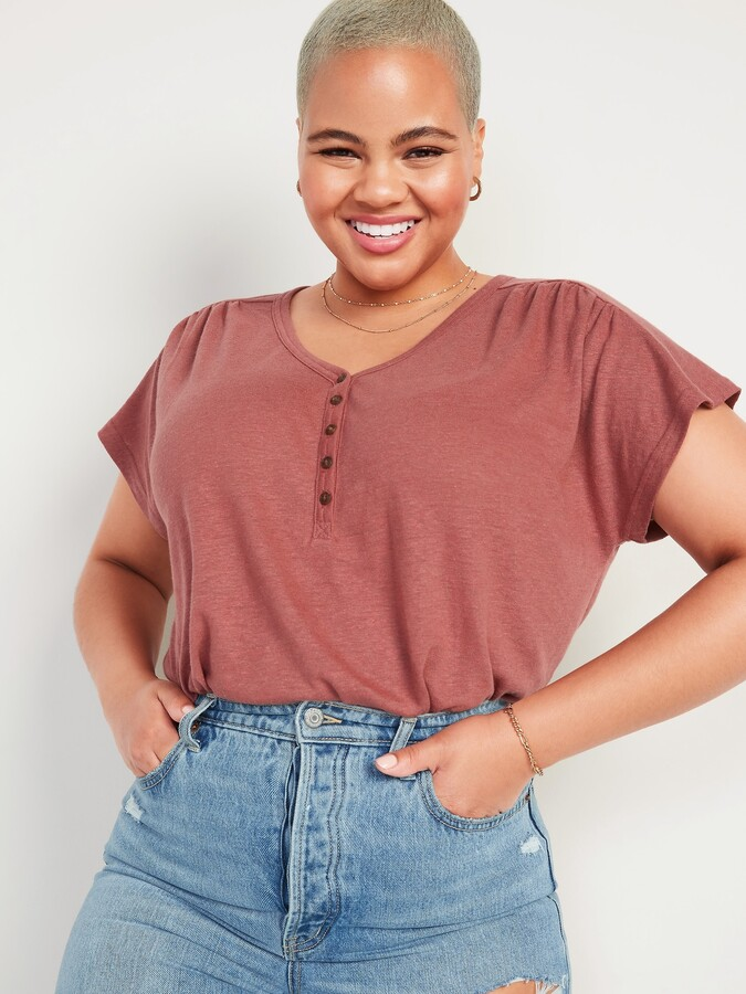 Thumbnail for your product : Old Navy Loose V-Neck Linen-Blend Henley Tee for Women