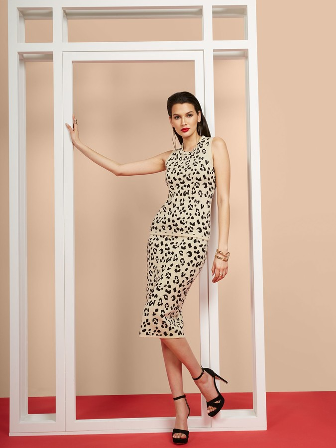 New York & Co. Leopard-Print Sweater Midi Pencil Skirt