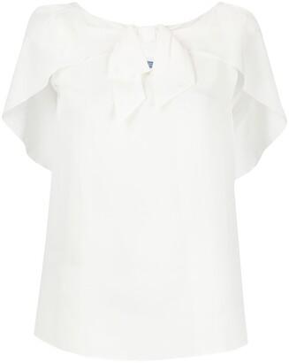 Prada bow embellished cape style blouse