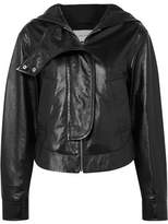 Cédric Charlier Hooded Glossed Textured-leather Jacket - Black
