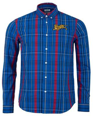 Kenzo Jumping Tiger Check Shirt Colour: BLUE, Size: SMALL