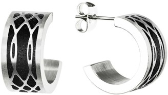 Gravelli Merge Concrete & Surgical Steel Hoop Earrings Anthracite