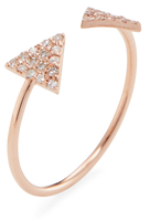 14K Gold & 0.12 Total Ct. Pave Diamond Open Triangle Ring