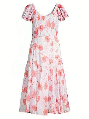 Rebecca Taylor Women's Louise Floral Midi A-Line Dress