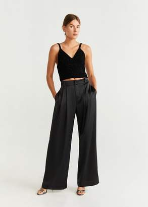 MANGO Satin palazzo pants black - 2 - Women