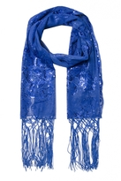 Quiz Blue Sequin Flower Scarf