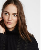 Express shaker knit with lacing funnel neck sweater