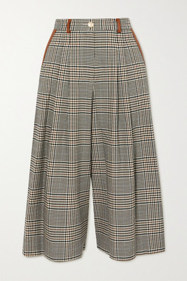 STAUD Spade Faux Leather-trimmed Prince Of Wales Checked Woven Culottes - Gray