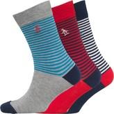 Original Penguin Mens Three Pack Socks Dress Blue/High Risk Red/Grey