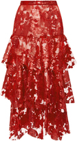 Rodarte Sequin And Lace Tiered Skirt