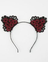 Full Tilt Floral Lace Cat Ears Headband
