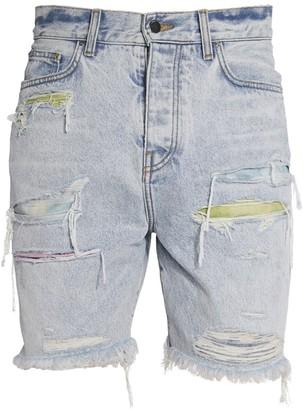 Amiri Watercolor Patch Trashed Denim Shorts
