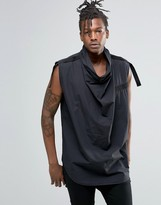 Asos Sleeveless Shirt With Cowl Neck And Strap Detail