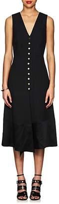 Derek Lam Women's Snap-Front Cady V-Neck Midi-Dress - Black