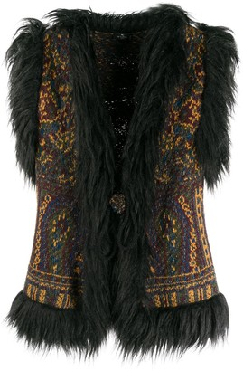 Etro Faux Fur-Trimmed Knit Vest