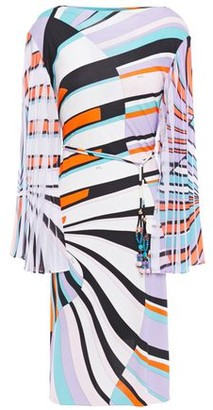 Emilio Pucci Printed Pleated Georgette-paneled Jersey Dress