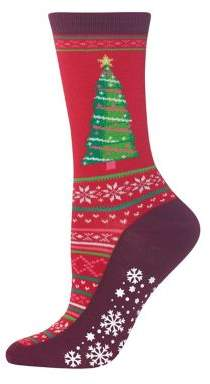 Hot Sox Christmas Tree Non-Skid Crew Socks