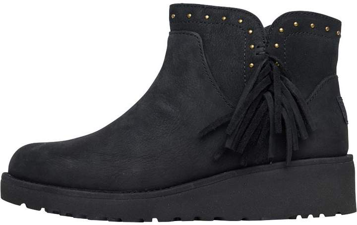 098232ff180 Womens Cindy Fringed Ankle Boots Black