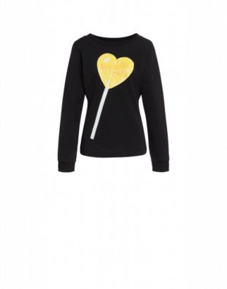 Love Moschino Stretch Sweatshirt Heart Lollipop Woman Black Size 38 It - (4 Us)