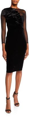 Chiara Boni Bracelet-Sleeve Illusion Dress with Asymmetric Ruffle Detail