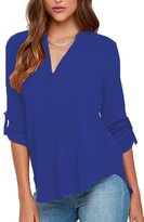 Dokotoo Womens Casual Chiffon Ladies V-Neck Cuffed Sleeve Blouse Tops X-Large