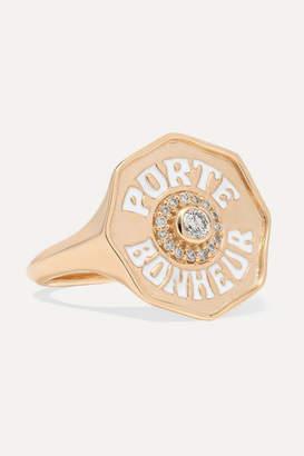 Marlo Laz Porte Bonheur 14-karat Gold, Enamel And Diamond Ring