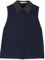 Alice + Olivia Lorrie Embellished Stretch-silk Georgette Top - Midnight blue