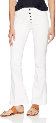GUESS Women's Gilded White 1981 Flare Jean Pants