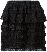 Isabel Marant frilled lace a-line skirt - women - Silk/Polyester - 36