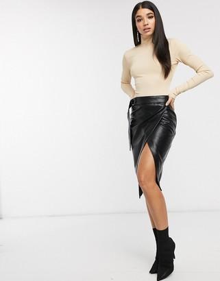 NA-KD Na Kd overlapped faux leather midi skirt-Black