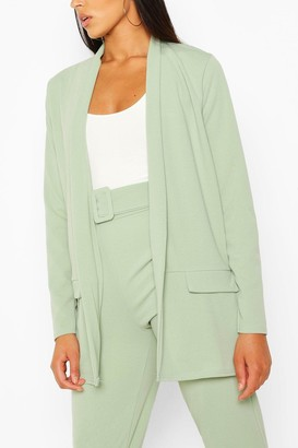 boohoo Tailored Blazer & Self Fabric Belt Pants Suit Set