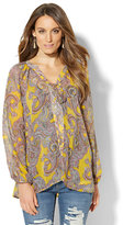 New York & Co. Lace-Up Peasant Blouse - Paisley Print