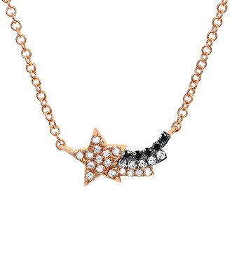 Ef Collection 14K Rose Gold 0.07 Ct. Tw. Diamond Shooting Star Fade Necklace